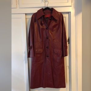EUC 1970s Dan Di Modes Vintage Red Leather Trench